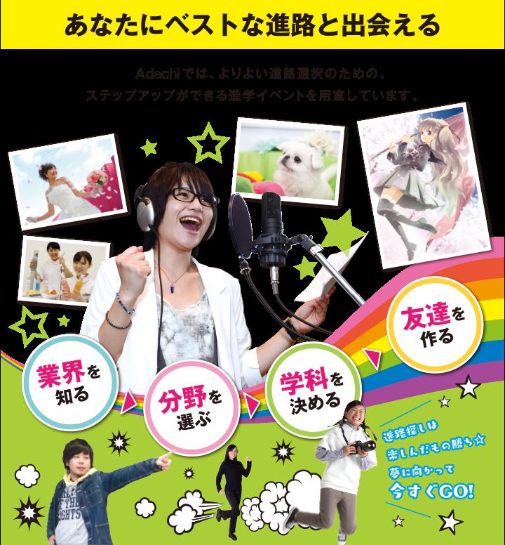 あなたにベストな進路と出会える!Adachiでは、よりよい進路選択のための、ステップアップができる進学イベントを用意しています。